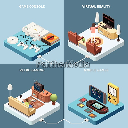 gaming gamers isometric 2x2 design concept