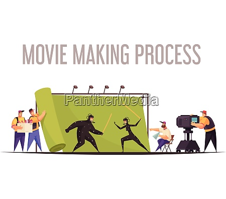 movie making process flat cartoon composition