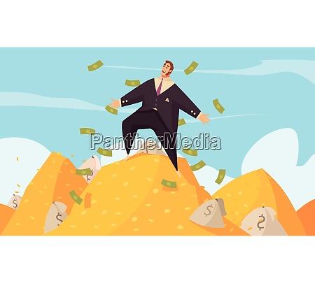 rich man flat cartoon poster with