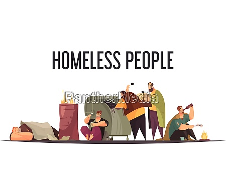 homeless people gathering food bottles from