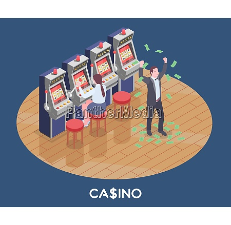 isometric composition with woman playing slot