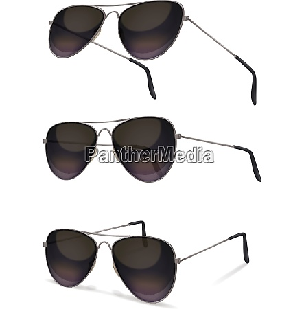 sunglasses set with realistic images of