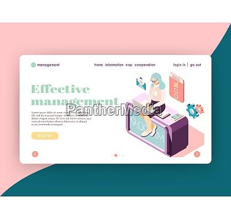 effective management isometric landing page website