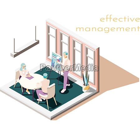 effective management isometric composition with text