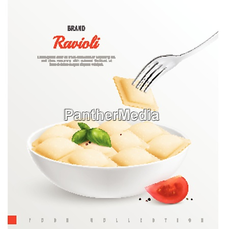 plate of ravioli as traditional national