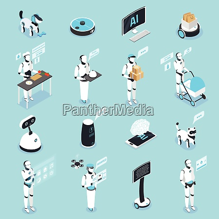 home robot isometric icons collection with