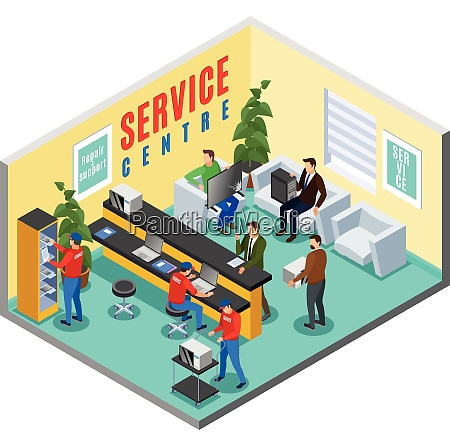 service centre isometric indoor composition with