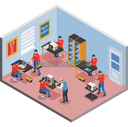 service centre isometric composition with indoor