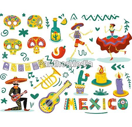 mexican day dead symbols attributes colorful