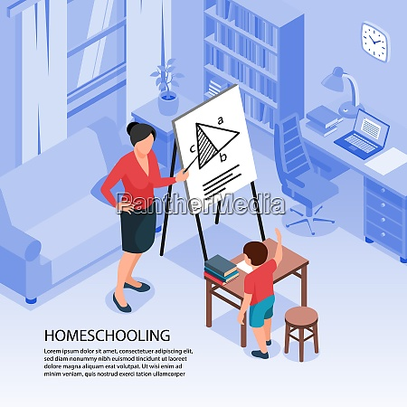 isometric family homeschooling background with indoor