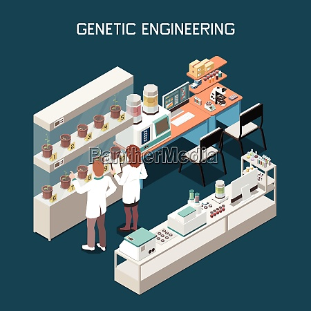 genetics isometric concept with scientists and