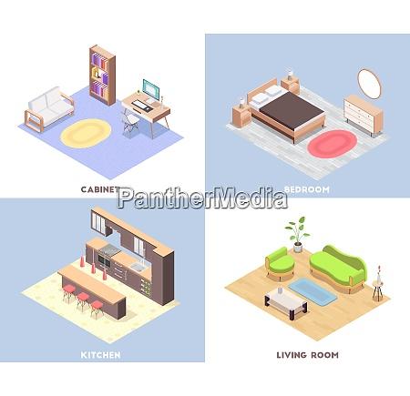 four squares interior furniture isometric concept