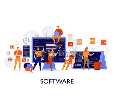 professional programmers configuring software colorful flat