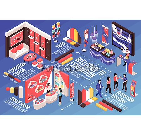 isometric expo stand horizontal composition with