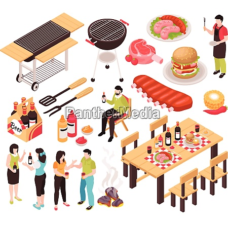 isometric bbq barbecue grill party set