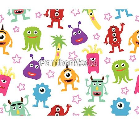 seamless pattern of cute cartoon monsters