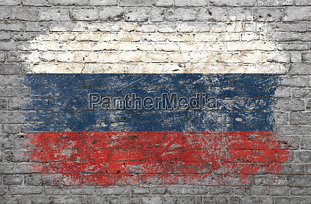 flag of russia painted on brick
