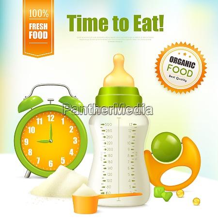 organic food background with alarm clock