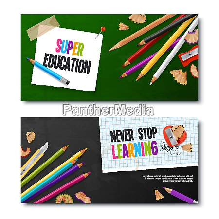 two education realistic banners with colored