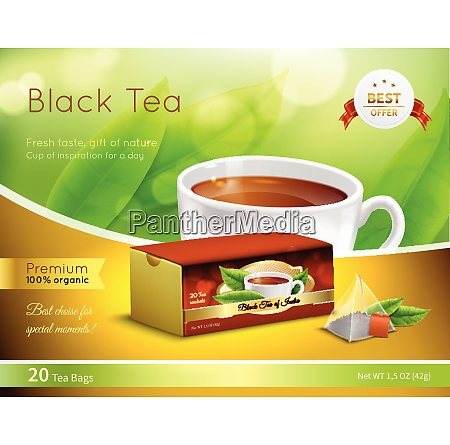 black tea advertising realistic composition on