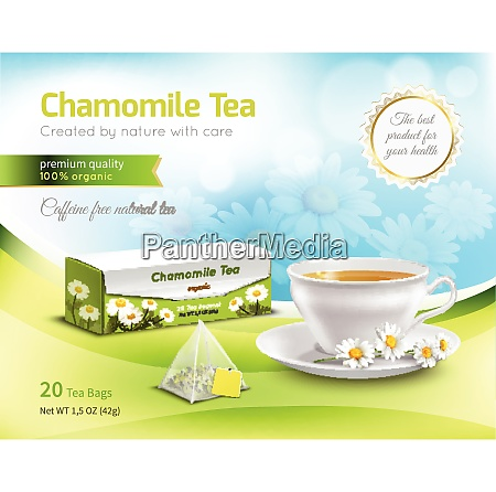 chamomile tea advertising realistic composition on