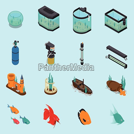aquarium icons set on blue background