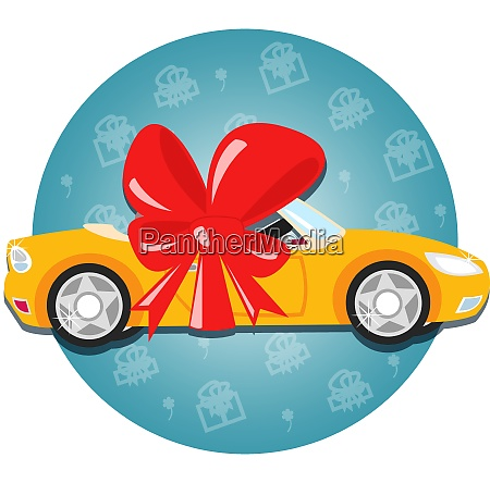 car gift with bow symbol vector