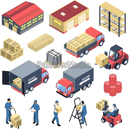 ware house set of isometric icons
