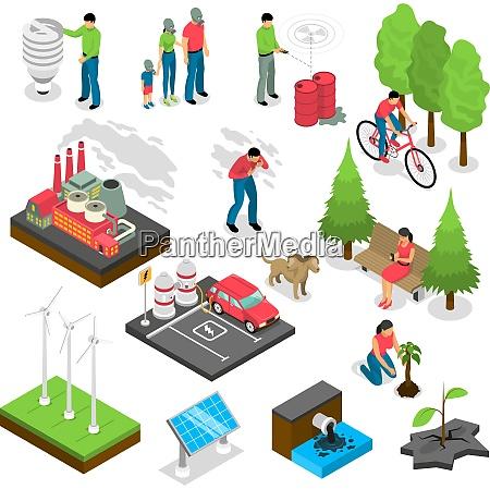 ecology isometric set with green energy