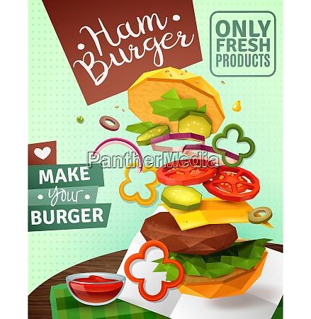 3d hamburger and sauce on brown