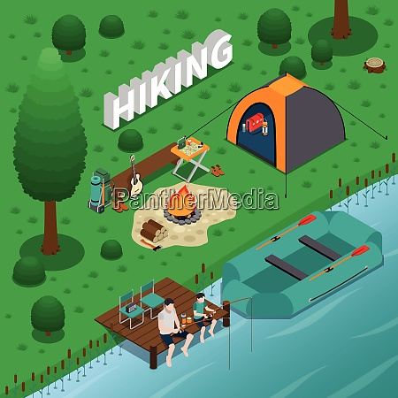 hiking concept with fishing campfire and