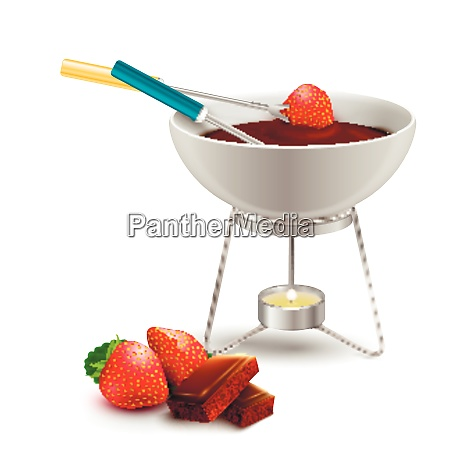 chocolate fondue with strawberry in culinary