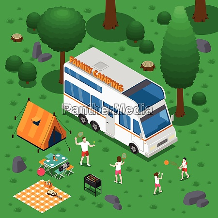 camping isometric concept with outdoor activity