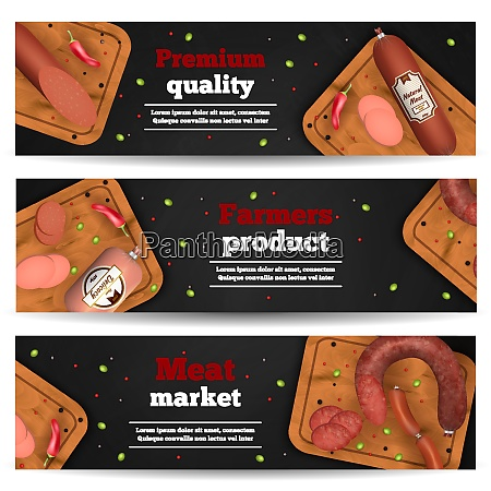 meat market horizontal banners with realistic