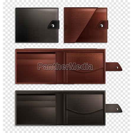 three stylish realistic wallet transparent icon