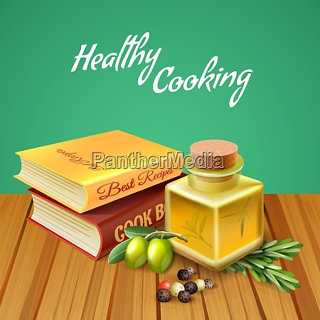 healthy cooking background with two cookery