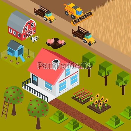 colorful isometric background with farm house