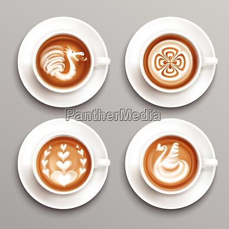 latte coffee realistic set with art
