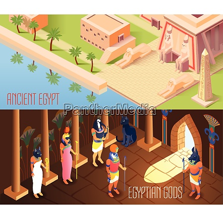 horizontal isometric banners set with egyptian