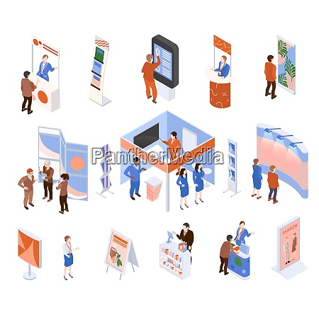 isometric expo trade exhibition set with