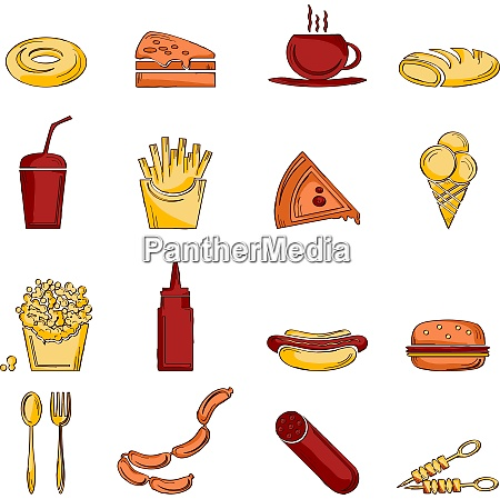 fast food icons sketch set of