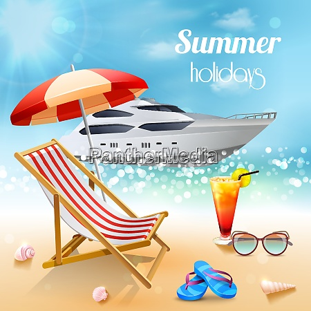 realistic summer holidays composition sunbed and