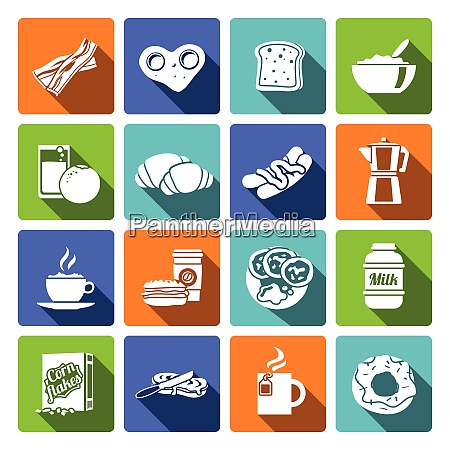 breakfast fresh food and drinks flat
