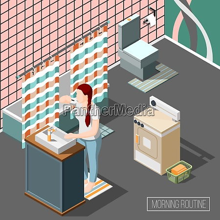 morning routine isometric composition with young