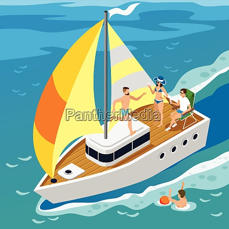 rich people during leisure on board