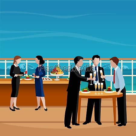 flat colored business lunch people vector