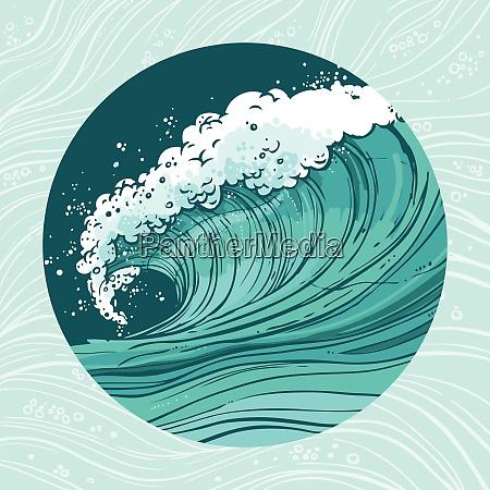 sketch sea ocean water wave in