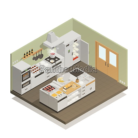 big restaurant kitchen with professional cooking