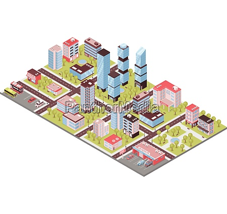 city district isometric composition with business
