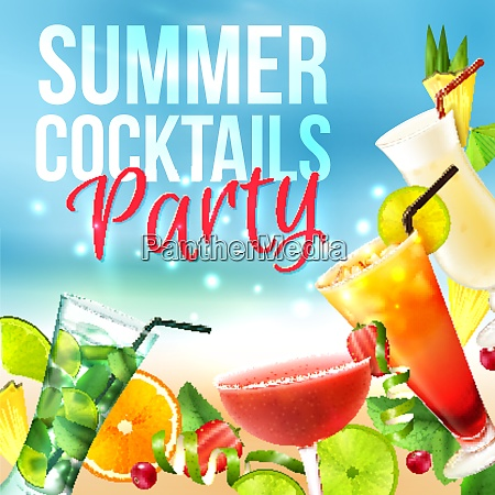 cocktail party summer poster with alcohol
